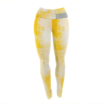 "CarolLynn Tice ""Breakfast"" Grey Gold Yoga Leggings"