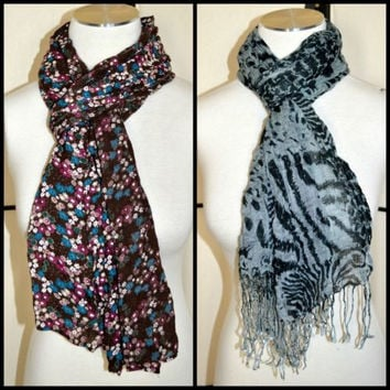 Scarf Lot of 2 Brown Floral & Black Gray Leopard Print