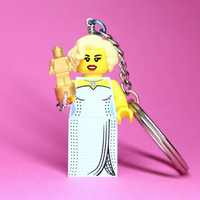 Hollywood Starlet Keychain - made from Series 9 LEGO (r) Minifigure