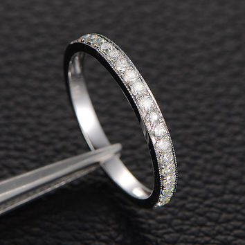 Moissanite Wedding Band in 14K White Gold with Milgrain , Anniversary Ring, Half Eternity Wedding Ring Band, Diamond Alternative