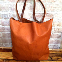 Large camel brown Leather Tote Bag - oversized brown leather tote bag - large leather bag - supple brown leather tote