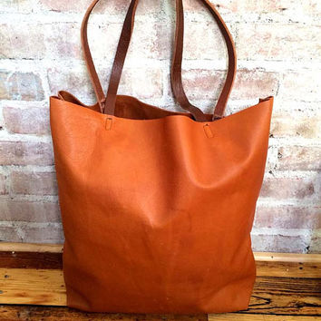 Large camel brown Leather Tote Bag - from sord on Etsy | Totes