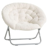 Ivory Sherpa Faux-Fur Hang-A-Round Chair