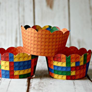 Bright Blocks Cupcake Wrappers, Reversible Cake Wraps,  Stacking Blocks Cupcake Decoration (set of 6)