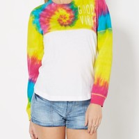 Good Vibes Tie Dye Drop Yoke Tee | Long Sleeve Graphic Tees | rue21