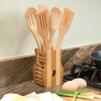 Evelots Set Of 6 Bamboo Cooking Utensil With Holder, Baking Kitchen Tools