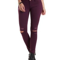 "Refuge ""Skin Tight Legging"" Colored Skinny Jeans - Deep Purple"