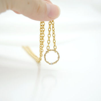 Gold Filled Round Circle Dainty Necklace with Crystal , Karma infinity jewelry