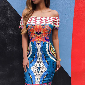 Folk Art Tribal African Print Dashiki Dress For Off Shoulder  Midi Dress Slash Neck Bodycon Short Party Dresses SM6