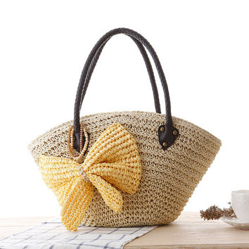 New Fashion Bowknot Beach Shoulder Bag Woven Tote Bag [6580756039]