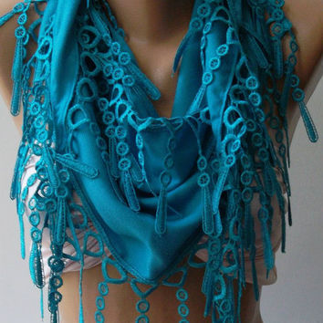 Blue - Pashmina and Elegance Shawl / Scarf with Lace Edge..