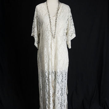 Black Friday Sale** Vintage Sheer White Lace Dress Angel Sleeves Floor length