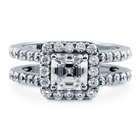 Sterling Silver Asscher Cubic Zirconia CZ Halo Ring 2.04 ct.twBe the first to write a reviewSKU# R955-01