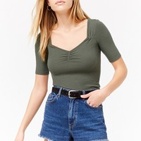 Ruched Ribbed Tee
