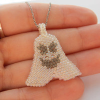Little Ghost pendant - beaded Halloween jewelry - spooky seed bead necklace - handmade beadwork - funny ghost on chain - white with black