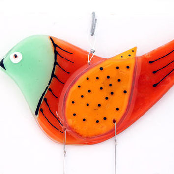 Fused Glass Aqua Bird  Windchime, Suncatcher (Aqua and orange)