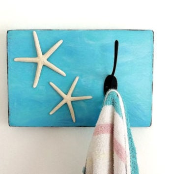 Starfish wall hook Rustic beach nautical decor wall hanging, towel hat coat hooks bathroom nursery, kitchen, turquoise blue hanger rack wood