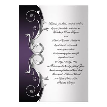 Ornate Purple Black Silver Wedding Celebration Personalized Invite from Zazzle.com