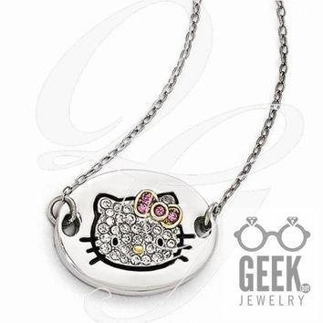 Sterling Silver Hello Kitty Pavé Outline Collection Oval Disc Necklace