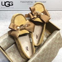 UGG New Fashion bow-knot shoes women lazy peas shoes