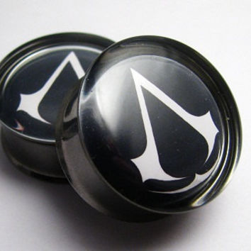 Assassin's Creed Plugs- 1 Pair (2 plugs) - 2g, 0g, 00g, 7/16, 1/2, 9/16, 5/8, 3/4, 7/8, 1 inch