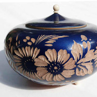 Vintage Cobalt Blue Round Gourd 3 Footed Bowl with Lid Hand Carved Flower Design