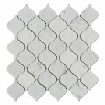 Carrara White Marble Polished Lantern Arabesque Mosaic Tile
