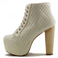 EXCLUSIVE Jeffrey Campbell: Lita Quilted Cream