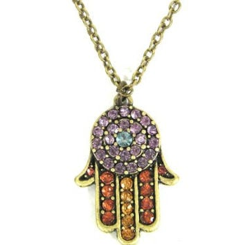 Crystal Hamsa Necklace Multi Colored Hand of Miriam NA20 Evil Eye Vintage Judaica Protection Amulet