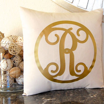 Metallic Gold Pillow, Gold Monogram Pillow, Metallic Decor, Gold Initial Pillow Metallic Pillow, Personalized Pillow, Metallic Silver Pillow