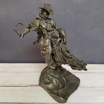 Franklin Mint Pewter Statue/ Clash of Wills/ Buck McCain/ Cowboy Statue/ Cowboy Decor/ Southwest Decor/ Western Decor/ Rodeo/ Ranch Decor