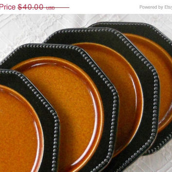 On Sale Vintage Octagon Amber Dinner Plates, Set of 4, Ironstone, Retro, Modern, Rustic, Sears