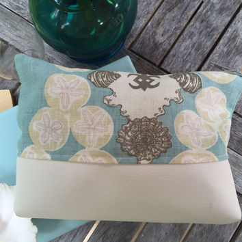 Sand Dollar Zippered Linen and Vinyl Pouche