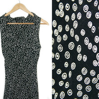 Vintage Maxi Dress~Size Small/Medium~70s 80s 90s Shift Black White Circle Dot Ruffle Dress~By Angie