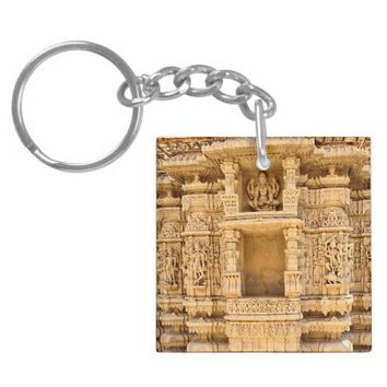 Carved Architecture Square Double Sided Keychain