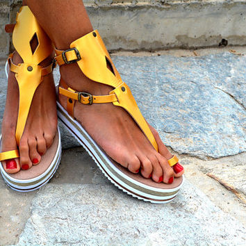 "Women Leather Sandal ""Aphrodite"", strappy sandals, genuine leather,  Ancient Greek sandals"