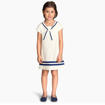Cool Summer Navy Mosaic Stripes Children One Piece Dress [4919892612]