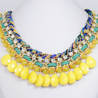 New Yellow Drop Bubble Statement Necklace, Beadwork Jewelry, Beaded Necklace, Swarovski Crystal Pendant Necklace w String Leather-128959074