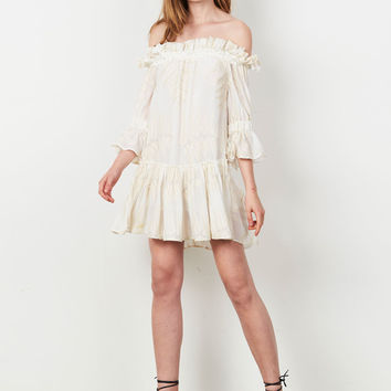 Buy Inca Off Shoulder L/S Mini Dress - Ivory | Stevie May | The Birdcage Boutique