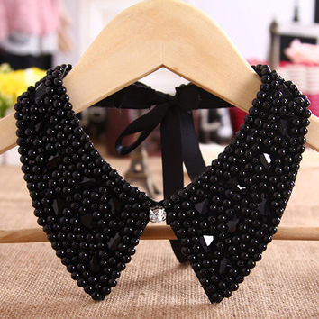 Beads & Rhinestone Faux Black Collar Necklace