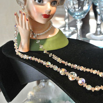 Swarovski Crystal Necklace Choker 1950s Mid Century Austrian Crystal Wedding Bride Bridal High Fashion Jewelry Dusty Rose Pink Necklace