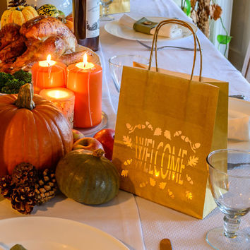 Happy Thanksgiving Paper Lantern - WELCOME luminary bags