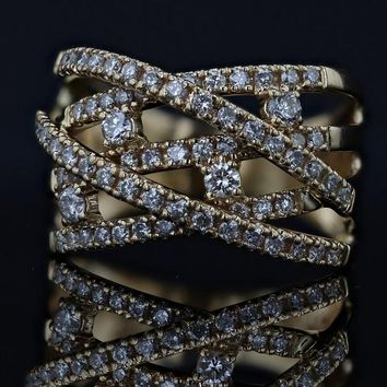 14k Yellow Gold Estate Weave 1cttw Diamond Band