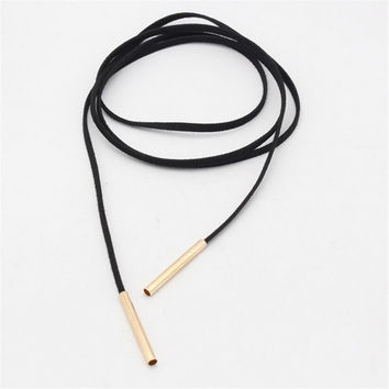 Luxury Leather Choker - Black with Gold Lacetip Design