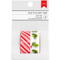American Crafts: Candy Stripe/Holly Christmas Holiday Washi Tape (2 Rolls/20 Yard Total)