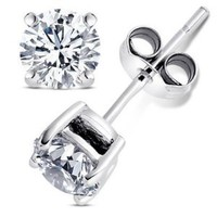 2.00 Carat Cubic Zirconia Earrings. Set in 925 Sterling Silver Nickel Free Settings. 6.50mm Each Round Stone. 1.00 Carat Each. Nickel Free: Jewelry: Amazon.com