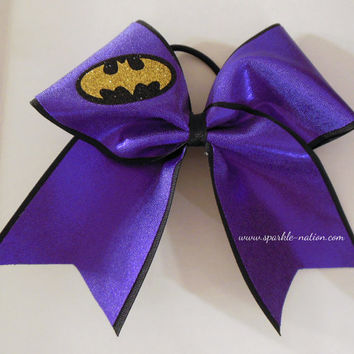 Bat Girl Super Hero Cheer Bow Cheerleading