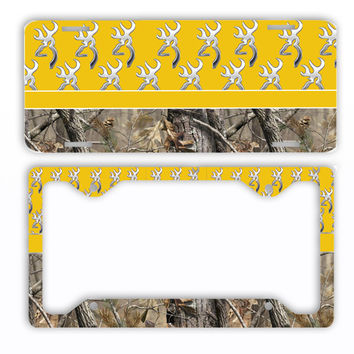 Yellow Browning Camo License Plate Frame Car Tag Country Hunting