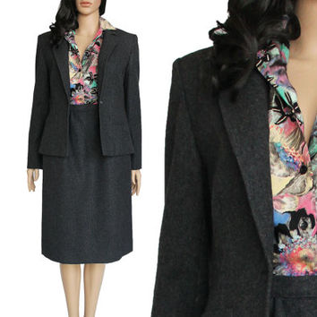 Vtg Pendleton Wool Suit Dark Gray Blazer Skirt two Piece Preppy Office Clothing 80s 90s Vintage Women's Size Small