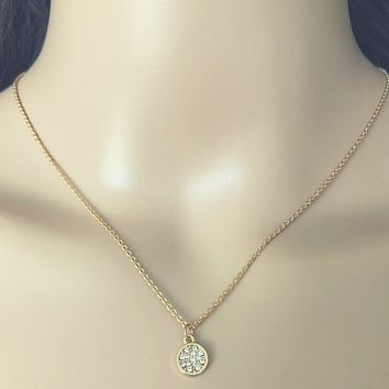 Gold and Crystal Flower Pendant Necklace